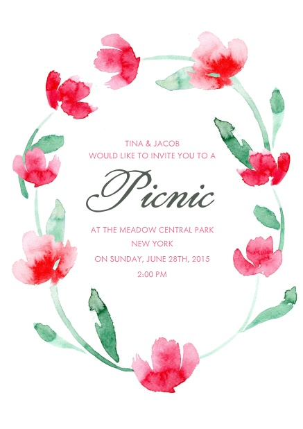 Online Invitation card with multilple red flowers.