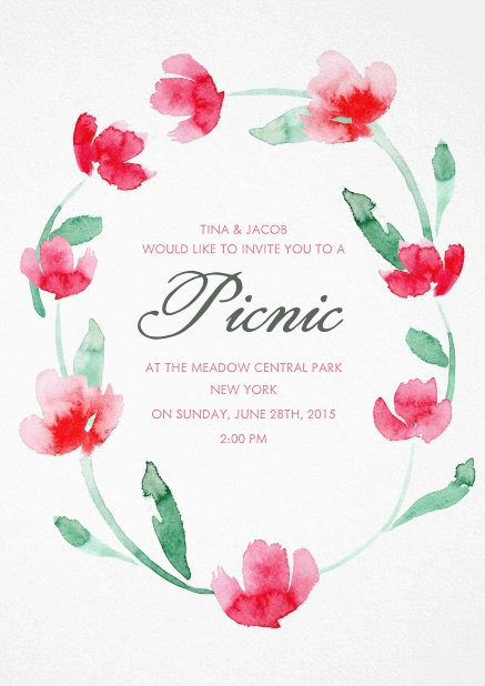 Invitation card with multilple red flowers.