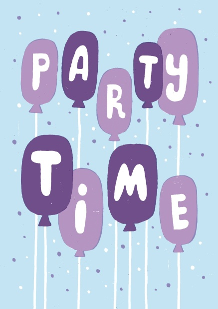 "Online Partyeinladungskarte mit dem Slogan ""party time""."