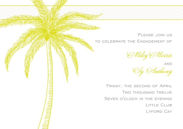 White Engagement or Wedding Invitation with yellow palm tree.