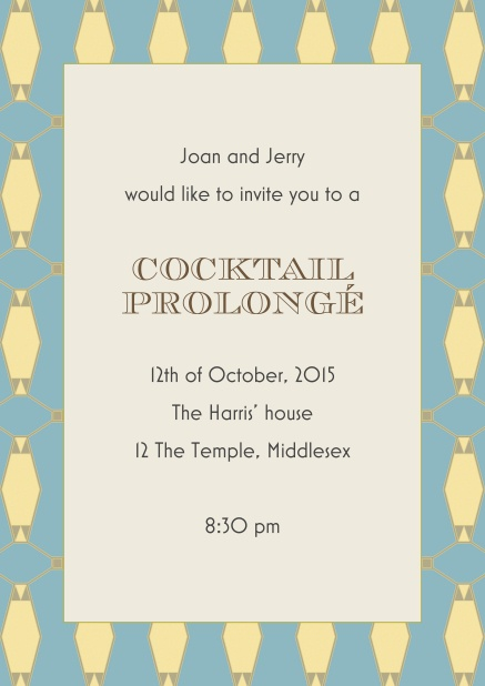 Online cocktail invitation card with blue frame and gold elements.