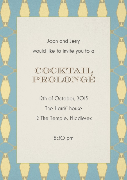 Cocktail invitation card with art nouveau gold and blue frame and editable text.