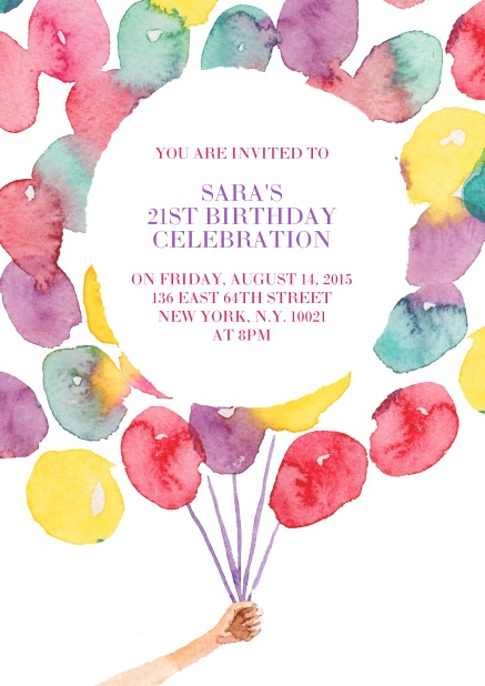 Online Invitation With Colorful Balloons For 21st Birthday