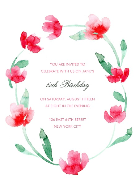 Online Invitation With Red Flower Wreath For 60th Birthday