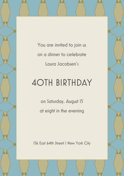Ready for the big 40 40th birthday online invitation for 40th birthday with patterned frame and text in the middle filmwisefo