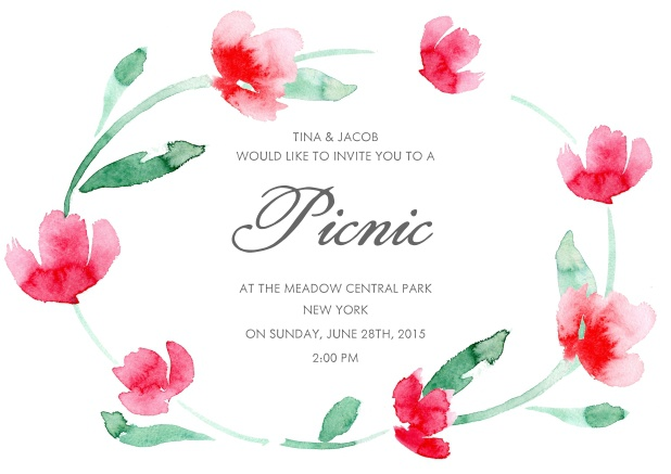 Online invitation with floral wreath and editable text field.