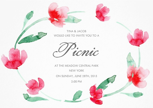 Invitation with floral wreath and editable text field.