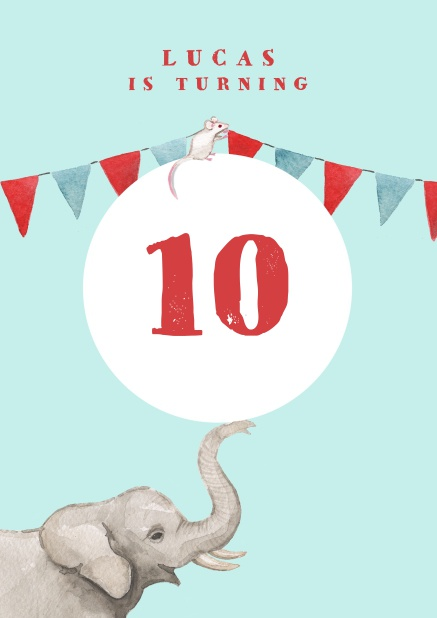 Online invitation to a 10th birthday party with elephant and garland.