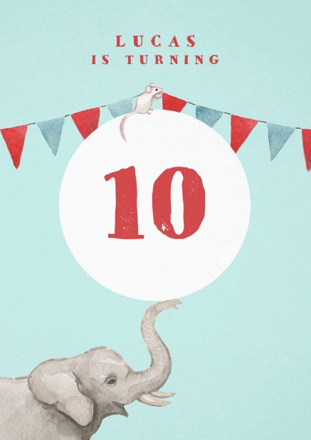Invitation to a 10th birthday party with elephant and garland.