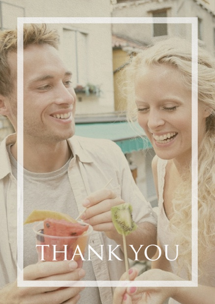 Thank you card with transparent frame and text on a photo of your choice. Navy.