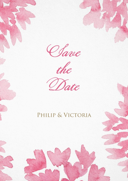 Save the date with pink water color flowers.