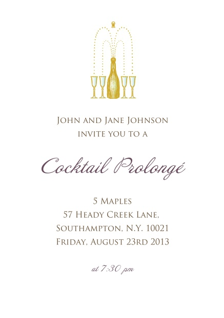 Online Invitation card in portrait for cocktails and birthday invitations with a champagne bottel opening into glasses.