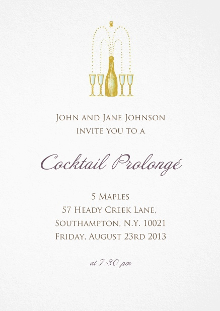 Invitation card for cocktails and birthday invitations with a champagne bottel opening into glasses.