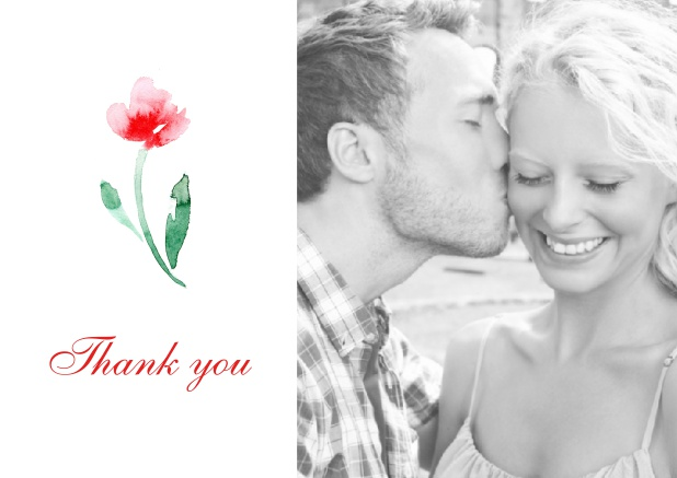 Online Thank you card with a red rose in water color and a photo option on the right.