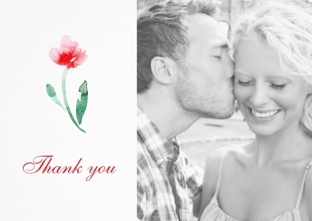 Thank you card with a red rose in water color and a photo option on the right.