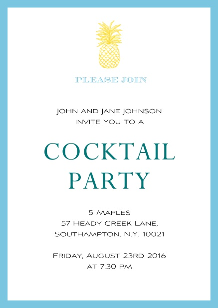 Online Summer cocktails invitation with pine apple and colorful frame. Blue.