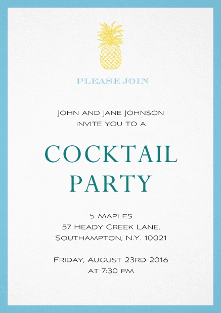 Summer cocktails invitation with pine apple and colorful frame. Blue.