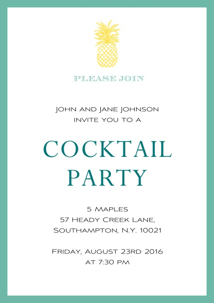 Online Summer cocktails invitation with pine apple and colorful frame. Green.
