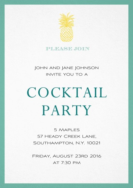 Summer cocktails invitation with pine apple and colorful frame. Green.
