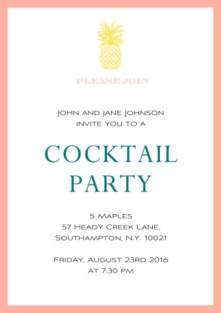 Online Summer cocktails invitation with pine apple and colorful frame. Pink.