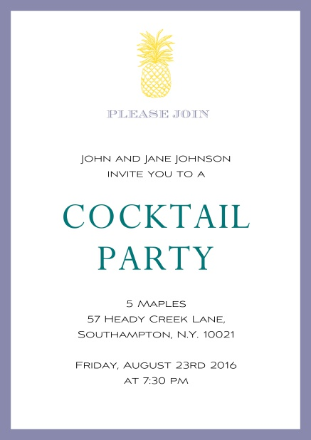 Online Summer cocktails invitation with pine apple and colorful frame. Purple.