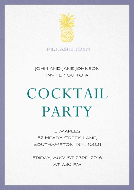 Summer cocktails invitation with pine apple and colorful frame. Purple.