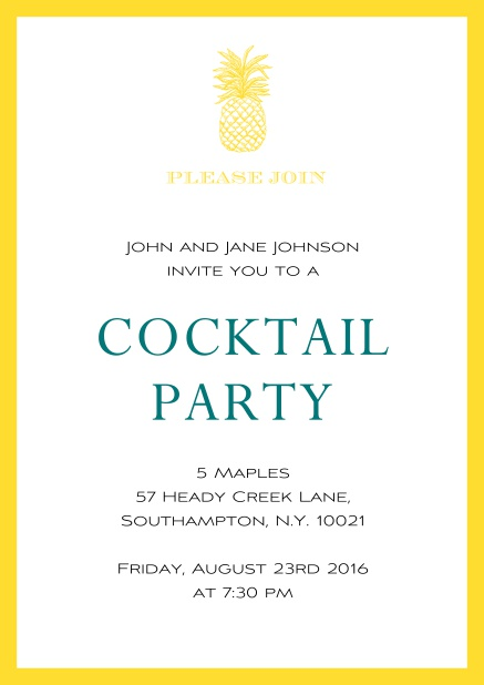 Online Summer cocktails invitation with pine apple and colorful frame. Yellow.