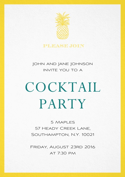 Summer cocktails invitation with pine apple and colorful frame. Yellow.