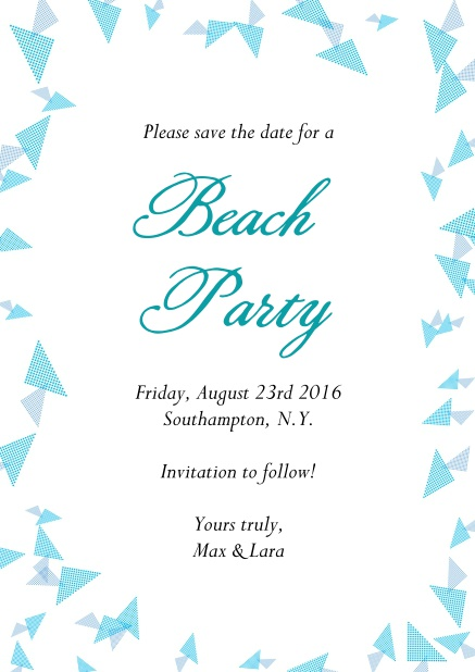 Online Beach party invitation card with blue flake decoration as a frame.
