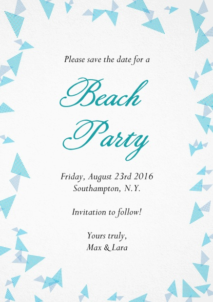 Beach party invitation card with blue flake decoration as a frame.