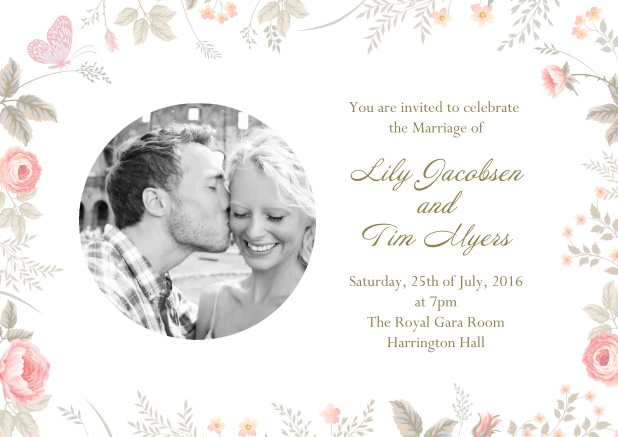 Online Wedding invitation card with rundem photo and sweet flowers as a frame.