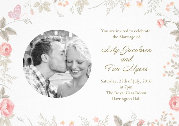 Photo invitation card for the big day with delicate floral decorations.