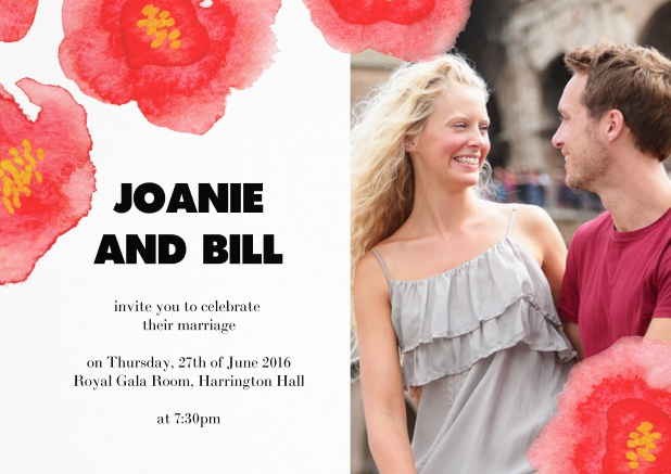 Wedding invitation with red flowers over a photo field.