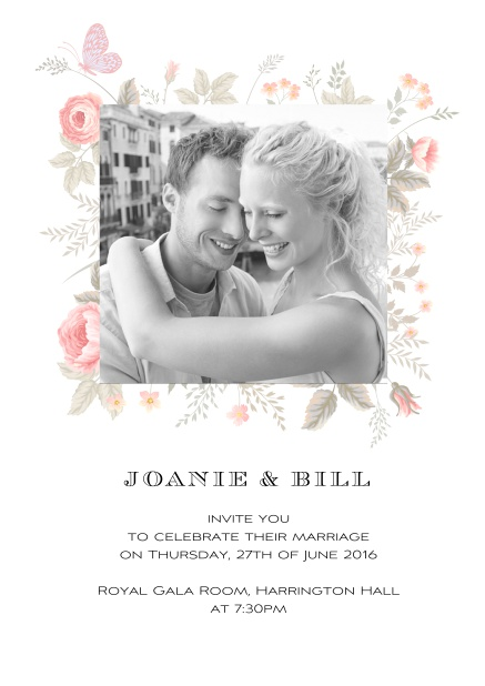 Online Wedding invitation card with photo and delicate flower decoration.