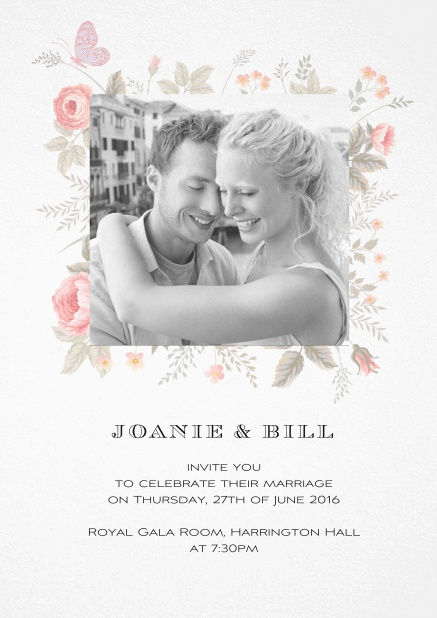 Wedding invitation card with photo and delicate flower decoration.