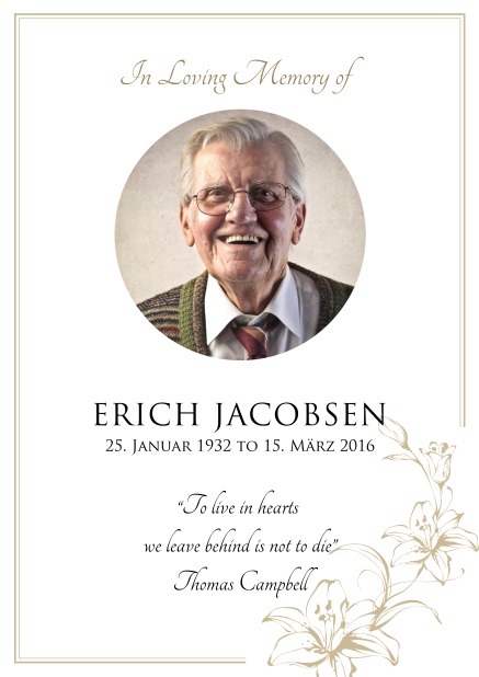 Online Memorial invitation card for celebrating a love one with round photo and flowers. Gold.