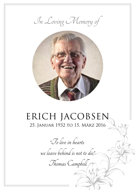 Online Memorial invitation card for celebrating a love one with round photo and flowers. Grey.