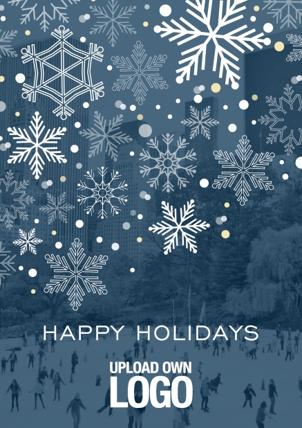 Online Corporate Christmas photo card with snow flakes, blue transparency and logo option.