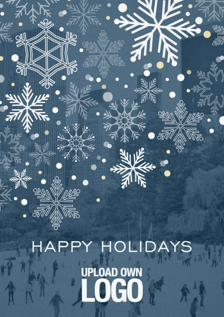 Corporate Christmas photo card with snow flakes, blue transparency and logo option.