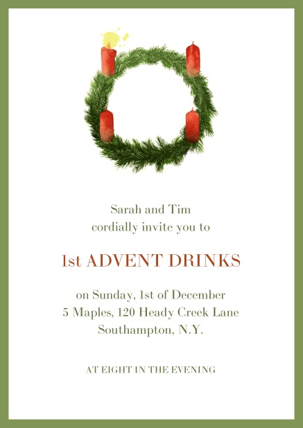 Online Advent invitation card with one burning candles. Green.