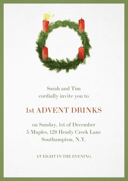 Advent invitation card with one burning candles. Green.