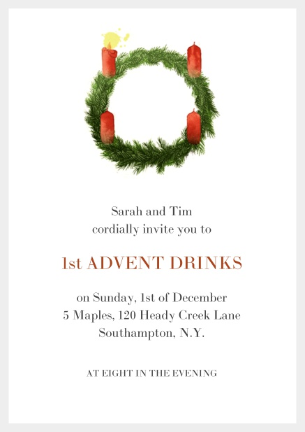 Online Advent invitation card with one burning candles. Grey.