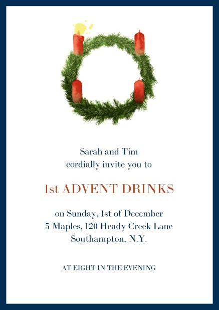 Online Advent invitation card with one burning candles. Navy.
