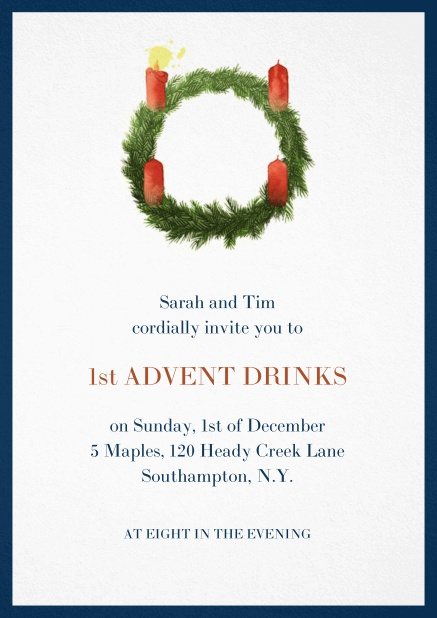 Advent invitation card with one burning candles. Navy.