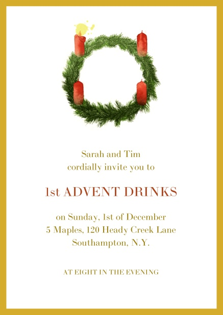 Online Advent invitation card with one burning candles. Yellow.