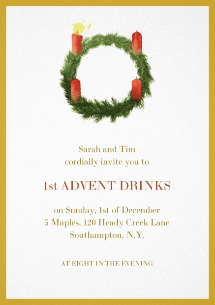 Advent invitation card with one burning candles. Yellow.