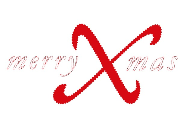 Online White Christmas card with red merry Xmas with a very large X.