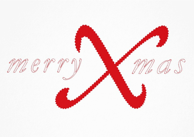 White Christmas card with red merry Xmas with a very large X.