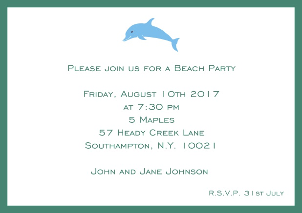 Online Invitation card with dolphine and matching colorful frame. Green.