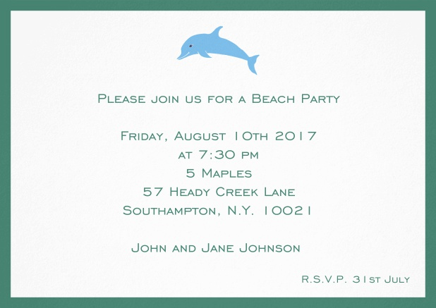 Invitation card with dolphine and matching colorful frame. Green.